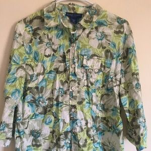 Karen Scott Women's Floral Print 3/4 Sleeve Blouse